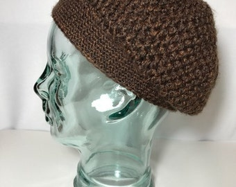 brown crochet beanie