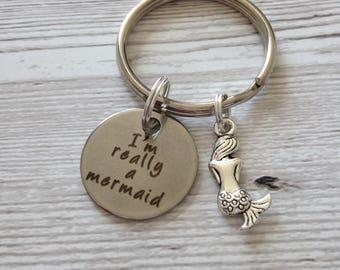 Mermaid keyring, mermaid gift, I'm really a mermaid, mermaid tail, the little mermaid, fantasy gift, mermaid wedding, gift for her, mermaid.