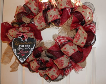 "Wreath,  Heart Shaped,  ""Grandma's fill the world with Love!"