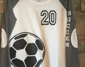 Custom Soccer Preppy Raglan with Number on Front, HTV, Soccer Mom, Team Shirt, Glitter HTV