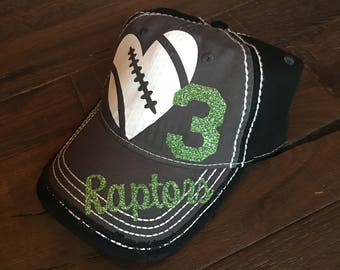 Football Bling Hat, Custom sports Mom, Football Mom Hat, Custom Football Hat, Distressed Football Hat, Distressed Sports Mom Hat, Sports Mom