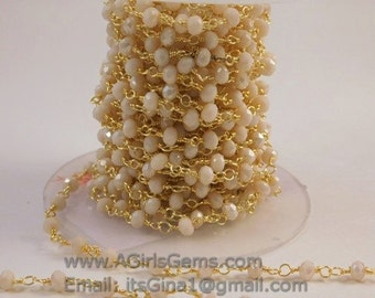 22 k Gold plated Cream Ivory Rosary Chain Wholesale 4 mm Chains for Jewelry Making Cream Ivory glass Rosary Roll Bulk Shipped from USA