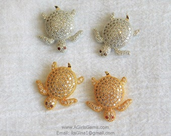 Micro Pave CZ Turtle Tortoise Focal Bead Silver Rhodium or Gold Plated Sea Turtle Animal Focal Bead Cubic Zirconia Bead Focal Bead Spacers