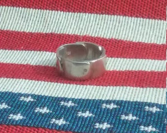 Sterling silver mini dog tag ring size 8.5