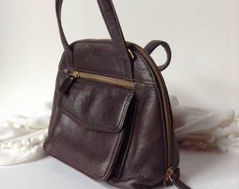 Valerie Stevens Mini Chocolate Brown Leather Satchel / Top Handle Purse