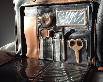 1980's Vintage Black with Brown Trim Vegan Leather Tote / Briefcase / Shopper / Travel