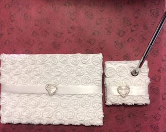 Wedding guest book rosette white- Wedding pen holder rosette white- Decorated Guest Book Rosette- Decorated Pen Holder Rosette.