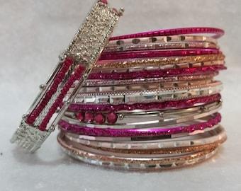 Pink bangle bracelet lot of 20, Silver bracelet, Shiny bangle bracelet beaded costume jewelry bracelet