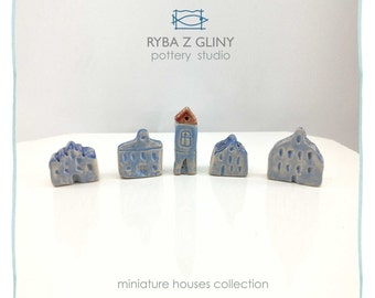 Five Houses - miniature pottery houses, Winter houses, Ceramic houses, Small clay houses, Tiny house
