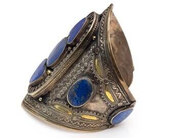 Intricate Blue Lapis, Sterling Silver & Gold Platted Vintage Cuff Bracelet, VJ #632A