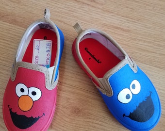 Handpainted Elmo and Cookie Monster Shoes Size 6