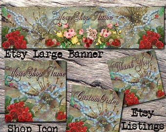 ETSY LARGE COVER Complete Set- Soap Cover Photo-Premade Natural Handmade Etsy Set-Bath Beauty Banner- Large Cover,Rose Large Cover, #119
