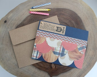 Birthday Card, Patchwork, Red White & Blue, Handmade, Blank Inside