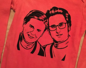 Tim and Eric Screen Print Baby Bodysuit//Hand Dyed//Baby Shower Gift//Gender Neutral