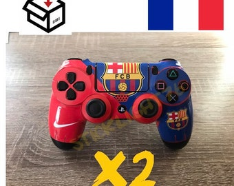 Skin stickers controller fc Barcelona ps4 controller led light bar controller