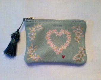 Leather Coin Purse, Hand Painted
