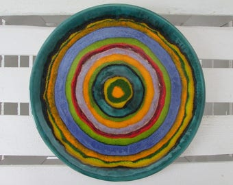 rainbow plate, decorative plate, colorful plate, unique platter appetizer ceramic plate pottery handmade, decorative tray, serving plate