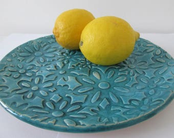 flowery plate, ceramic plate, turquoise handmade platter, appetizer with ornaments, serving plate, decorative tray, plate with flowers