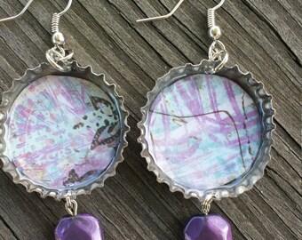 Bottle cap earrings with purple bead