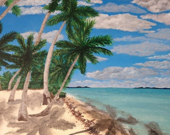 "Tropical Beach Painting.Not a Print. Dominican Republic painting.Caribbean sea. Canadian artist. Ocean Wall Art. 20""x16"" Unique home decor"
