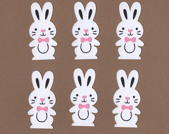 6 - 2 1/2 inch White Bunny Die Cuts for Paper Crafts Embellishments Set 7011
