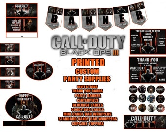 Call of Duty Black Opts 111 Custom Printed Party Invitations, Thank You and Decorations, Banner and More
