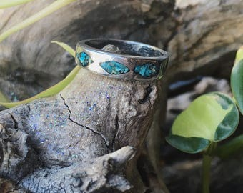 Vintage Native American turquoise inlay band ring size 7 1/2