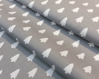 Fabric mini trees gray and white - size to 1 quantity 50 cm x 160 cm - 100% cotton