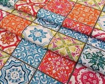 Fabric Lisbon tile multicolored tiles - dimension for 1 quantity 50 cm x 160 cm - 100% cotton
