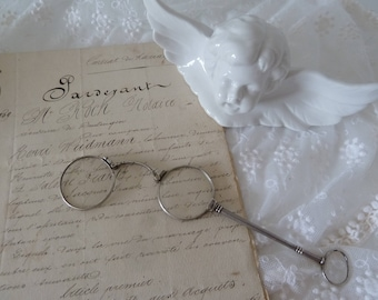 Lorgnette sterling silver 935 Lorgnon Monocle glasses antique 19th century decoration CoeursDeCaschel mother's day father's day Brocante Edwardian style
