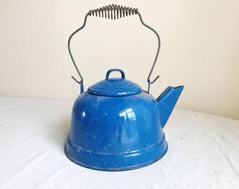 Enamelware Tea Kettle, Enamelware Kettle, Vintage Kettle, Vintage Enamelware, Blue and White Kettle, Vintage Farmhouse Decor