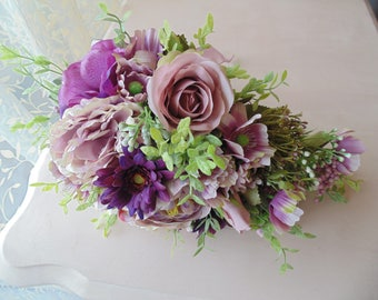 Bridal Bouquet, Teardrop style, artificial flowers,Dusky Pink/lilac/mauve