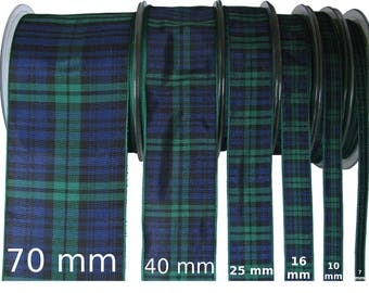 Black Watch Tartan Ribbon - CUT LENGTHS. 7, 10, 16, 25, 40 & 70mm Widths.... (25m Reels also available - pls. see REELS listing)