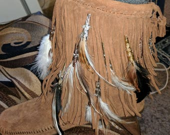 Feather Fringe Boots