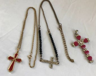 Lot of 3 Vintage Religious Cross Necklace and Pendant