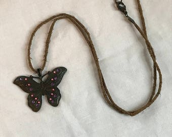 Vintage Butterfly Pendant Necklace, Charm Necklace, Hippie, Rope Strand, Estate Jewelry