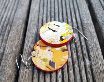 Lautrec - round, wooden, light, colourful, artist, dangling earrings