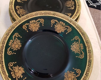 Emerald Green 24K Gold Accented Dessert Plates - 8 Piece Set - Very Vintage with Gorgeous Deep color and Marvoulas Detail