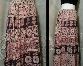 SUMMER SALE Vintage 1970s Indian Wrap Skirt, Maxi Length, BoHo Hippie Hippy Festival, Cotton,  Size Small - Medium