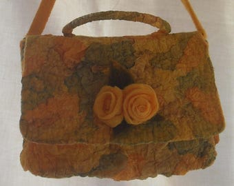 Women's bag Felted bag Yellow bag Nunofelting bag Shoulder bag