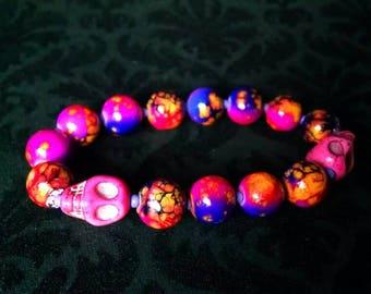 Fun n flirty bracelet with magenta skulls