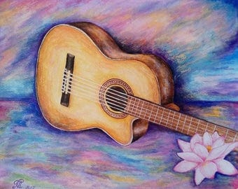 "Guitar acrylic painting, Print, 11""x14""."