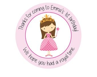 20 Princess Birthday - Princess Party Stickers  - Party Tags - Favor Tags - Princess Favor Tags - Princess Birthday Party