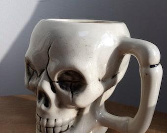 Unusual Human Skull Pottery Mug