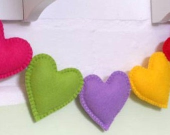 Felt heart ornaments valentines day gift Housewarming home decor Gift for her Christmas gift Baby shower eco friendly Customized Gift
