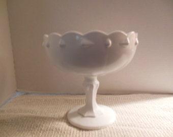 Vintage Large White Milk Glass Compote/Fruit Bowl