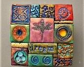 polymer clay mosaic box, wooden box, decorated box, God box, dream, dragonfly