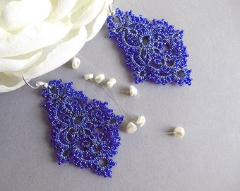Tatting lace earrings, lace tatted jewelry, blue lace earrings, beaded tatted earrings, handmade lace jewelry,  vintage style