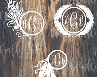 Feather Monogram Decal, Monogram Decal, Monogram Decal, Dreamcatcher Monogram Sticker, Feather Monogram Decal, Beads, Greek Letters
