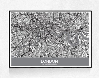 London Map Print, Map Print, Street Map Print, Modern Minimalist, Black And White, Map Poster, London Print, Map Wall Art, Printable Art